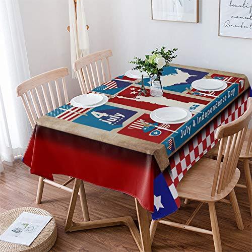 Yo Chairon USA Liberty - Mantel antiderrames, algodón, lino, para cocina, banquetes, fiestas, temática de la bandera estadounidense, algodón, lino, Independencia Dayynt7740, 60×120in