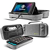 tomtoc Carrying Case for Nintendo Switch, Portable Travel Carry Storage Case Compatible with Switch Console, Pro Controller and 24 Game Cards, Protective Carry Bag with Handle, Gray