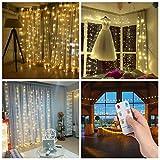 3*3m 300er LED Diamant Lichtvorhang Fernbedienung Home Dekorations Licht IP44 wasserfest Kupferkabel...