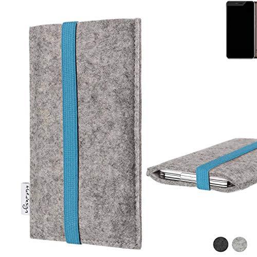 flat.design Handy Hülle Coimbra für Allview X4 Xtreme - Schutz Case Tasche Filz Made in Germany hellgrau türkis