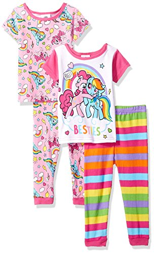 My Little Pony Girls' Toddler 4-Piece Cotton Pajama Set, Bestie Rainbows, 2T