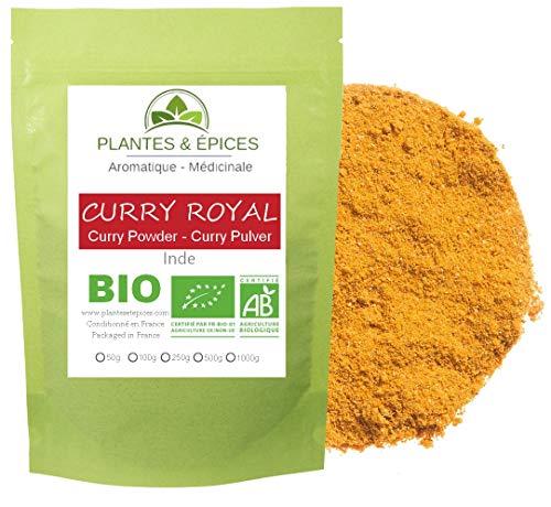Plantes & Epices - Curry Royal Poudre BIO, 100% Naturel- Sachet Fraîcheur Biodégradable Refermable (100g)
