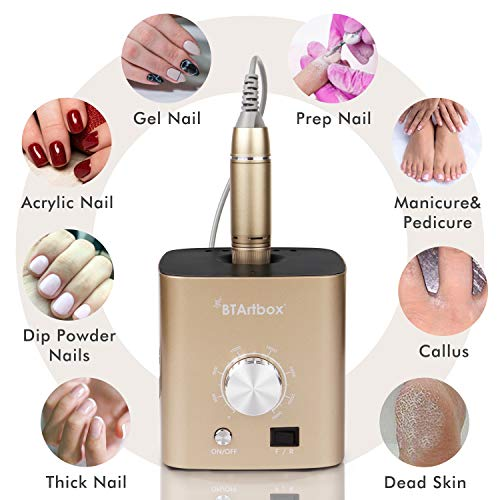 Nail Drill for Acrylic Nails - Professional Nail Drill Machine BTArtbox 30000 rpm Electric Efile Nail Drill for Gel Nails Remove Poly Nail Gel Gift for Women Home and Salon Use, Gold
