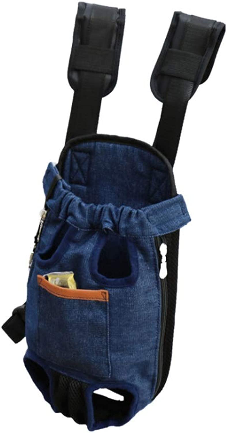 HUAyue Breathable Backpack, Pet Backpack Dog Cat Cat Out of The Chest Fashion Chest Bag (color   bluee, Size   M)