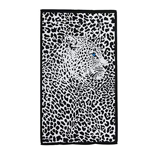 QYX Leopard Microfiber Beach Towel 70''x40'' Black Quick Dry Absorbent Bath Towel Blanket Suitable for Adults Swimming Fitness Enthusiasts Best Gift