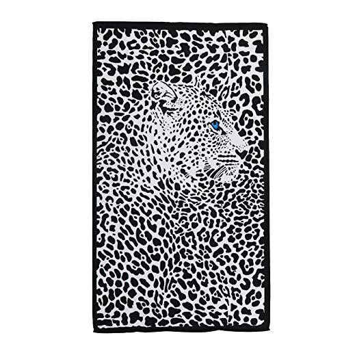 QYX Toalla De Playa De Microfibra De Leopardo 180x100cm Manta De Toalla De Baño Absorbente De Secado Rápido Negra Adecuada para Adultos Natación Entusiastas del Fitness