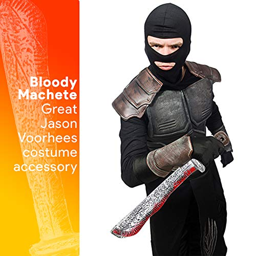 Skeleteen Bloody Machete Costume Prop - Fake Realistic Bleeding Knife Toy for Costumes and Cosplay