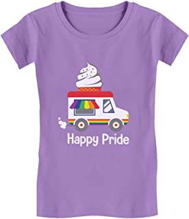 Rainbow LGBT Ice Cream Truck Pride Flag Toddler/Kids Girls' Fitted T-Shirt