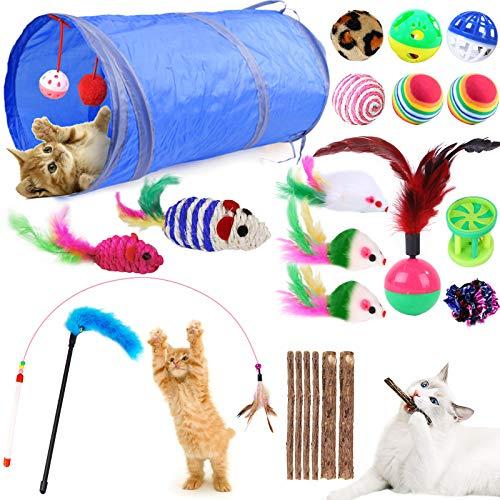 GeeRic 23 Stück Katzenspielzeug Set mit katzentunnel Bälle,Federspielzeug,Plüschspielzeug,Spielzeugmäuse,katzenspielzeug Pack,Kätzchen Maus Spielzeug Set,Katze Toys Variety Pack