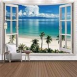 Paisaje fuera de la ventana tapiz tapiz arte bosque cascada decoración del hogar tapiz junto al mar A9 180x200cm
