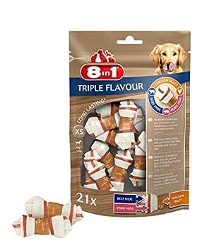 8in1 Triple Flavour XS - Os à Mâcher pour Chien de Petite Taille – Plus de viande, plus de durée de mâche - Limite le Tartre - Sans OGM, Conservateur Artificiel - 21 pcs