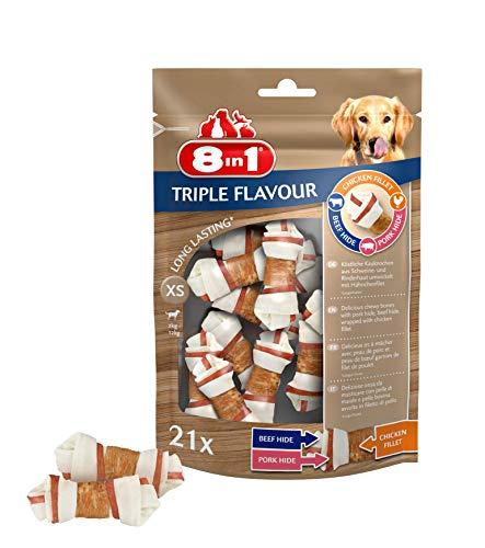 8in1 Triple Flavour Kauknochen XS 21 Stück umwickelt mit Hähnchenfilet, 2er Pack (2 x 294 g)
