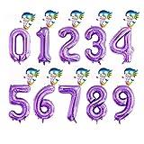 JSJJARF Globos 2 Piezas de 40 Pulgadas de Aluminio Partido Globos púrpura Digital Globo Mini Sirena 0-9 decoración de Feliz cumpleaños (Color : 3, Shape : 5)