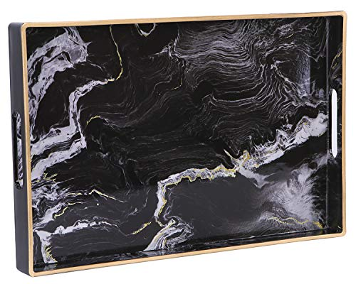 """Zosenley Decorative Tray, Marbling Plastic Tray with Handles, Rectangular Vanity Tray and Serving Tray for Bathroom, Kitchen, Ottoman and Coffee table, 15.6"""" x 10.2"""", Black"""