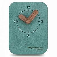 LYLSXY 目覚まし時計、時計新しいホームデスクテーブルモダンアメリカンシンプルデスクテーブル振り子学生の寝室ミュートクリエイティブベッドサイドデスクトップ壁装飾的な緑のアラーム,a