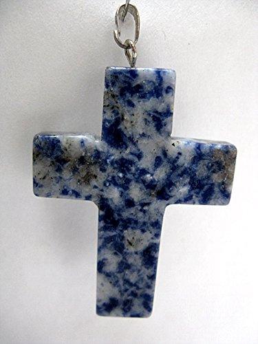 Natural Mente – Colgante de sodalita, cruz, piedras preciosas, collar semipreciosas, sodalita, n.º 3