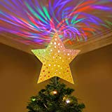 YUNLIGHTS Christmas Tree Topper, Lighted Christmas Tree Toppers Star with Wave Projector Lights for Christmas Holiday Party...