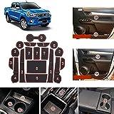 METYOUCAR Accesorios de coche para Toyota Hilux/Hilux Revo 2016-2021 Caja de almacenamiento de coche Pad de agua esteras interiores Alfombrillas de coche puerta Gap Pad plástico 18 piezas