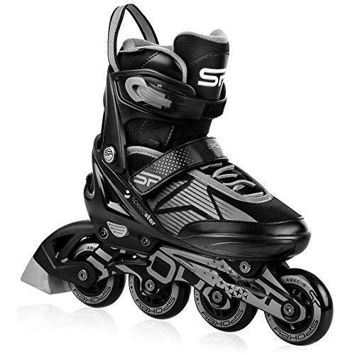 Spokey Speed PRO Inline Skates für Jugendliche und Erwachsene bis max. Körpergewicht 100 kg, größenverstellbar, Alu-Schienen, Kugellager ABEC-9 Carbon, PU Rolle 82 A, Ø-Rolle größenabhängig