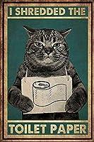 トイレットペーパーのロゴを粉砕した猫が欲しいのは、猫の面白い農場の子猫4穴、猫の扇風機のための愚かな装飾を簡単にぶら下げることができます8x12インチ農民