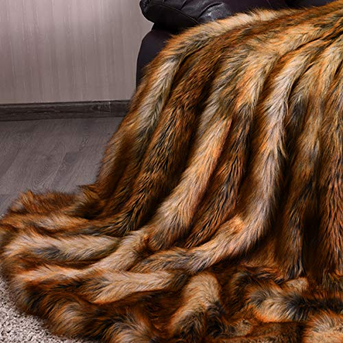 Giantex Faux Fur Throw Blanket, Ultra Soft Fuzzy Bed Blankets, Light Weight and Cozy Warm Touch, All Season Fluffy Plush Blanket for Sofa Couch Bed (58' x 60')