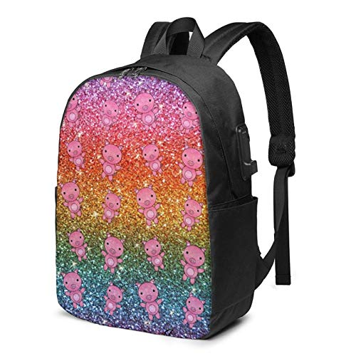 XCNGG Rainbow Glitter Pig Travel Laptop Backpack College School Bag Casual Daypack with USB Charging Port