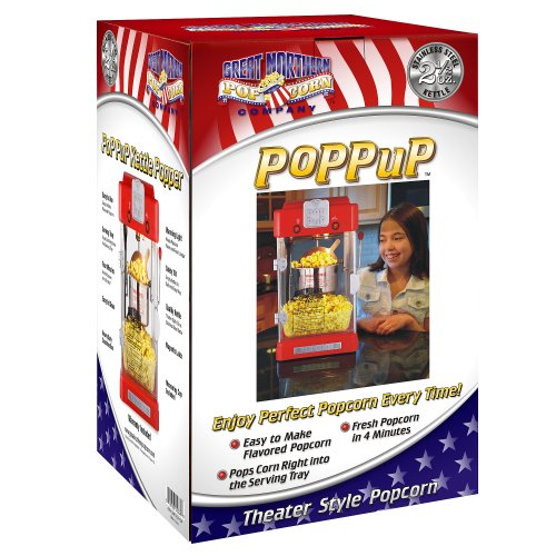 Product Image 7: Great Northern Popcorn 83-DT5622 Northern Machine Pop Pup 2-1/2oz Retro Style Popcorn Popper, 2.5 ounce, Red