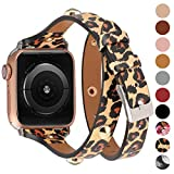 Moolia Compatible for Apple Watch Band 42mm 44mm for Women,Slim Leather Double Wrap Watch Bands Strap Replacement for iWatch SE Series 6 Series 5 Series 4 Series 3 Series 2 Series 1,Leopard