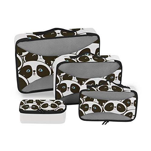 Mr.XZY Lindo Panda 4 Conjunto de Cubos de Embalaje de Equipaje de dibujos animados Patrón de Malla Ligero Equipaje Organizador de Embalaje Accesorios de Viaje 2010014