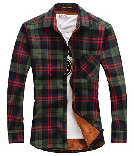 chouyatou Men's Casual Long Sleeve Fleece Lined Plaid Flannel Buttoned Overshirts Jacket (Large, M01)