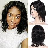 Perruque courte ondulée 7A Noir, cheveux humains Brésiliens, aspect naturel avec filet réglable sans colle de 25,4 cm