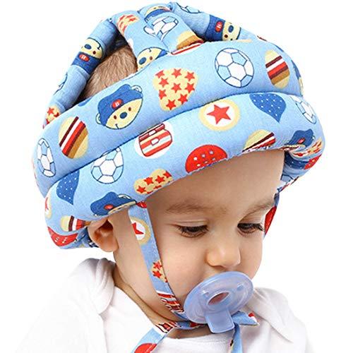 Baby Helmet Schutzhelm - YUESEN Sicherheitshelm für Babys und Kleinkinder, Kopfschutz für Kinder zum Laufen und Krabbeln Stöße für Kleinkind aus Weicher Baumwolle Verstellbar Stoßfest(Fußball Blau)