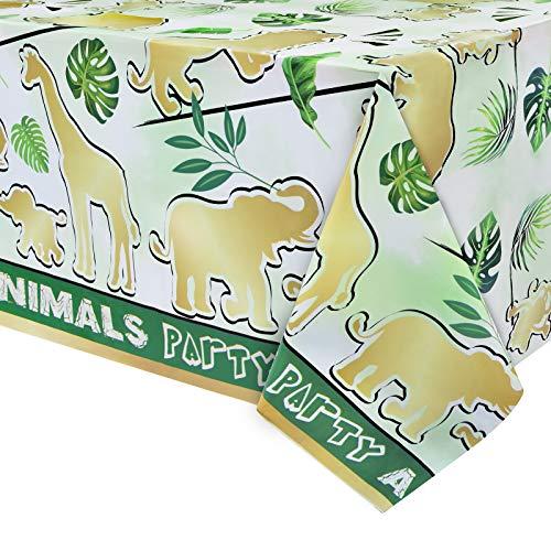 Mantel para Fiestas de Selva - 1 Pieza 137 x 274cm Suministros para Fiestas Infantiles Jungle Safari Decoraciones para Fiestas de Cumpleaños de Niños Rectángulo Cubierta de Plástico Desechable de Mesa