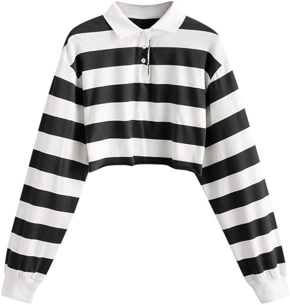 Women Teen Girls Fashion Turn-Down Collar Crop Top Sweatshirt Long Sleeve Rainbow Striped Color Block Pullover Shirts