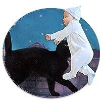 エリアラグ軽量 黒猫 フロアマットソフトカーペット直径31.5インチホームリビングダイニングルームベッドルーム