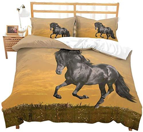 dsgsd Edredón infantil Imagen creativa 3D Cielo amarillo pradera animal caballo negro paisaje 260x240cm Ropa de cama 3D funda nórdica king grande para niños adultos niños ropa de cama familiar 3 pieza