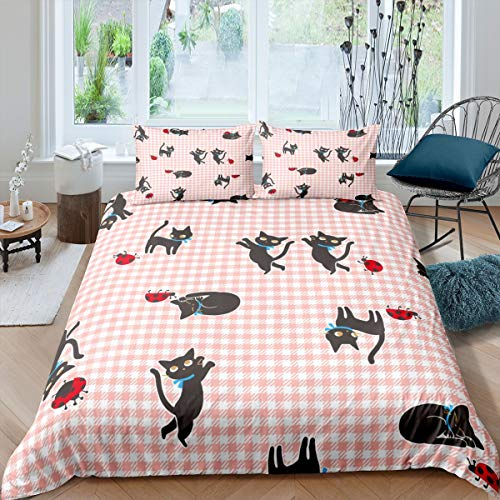 Tbrand Girls Cute Cat Bedding Set for Kids Children Daughter Cartoon Pet Kitten Comforter Cover Lovely Animal Insects Duvet Cover Room Decor Red Grid Plaid Bedspread Cover Double Size 3Pcs