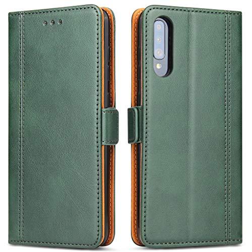 Bozon Handyhülle für Galaxy A50/A30s, Lederhülle mit Kartenfächer, Schutzhülle mit Standfunktion, Klapphülle Tasche für Samsung Galaxy A50/A30s (Grün)