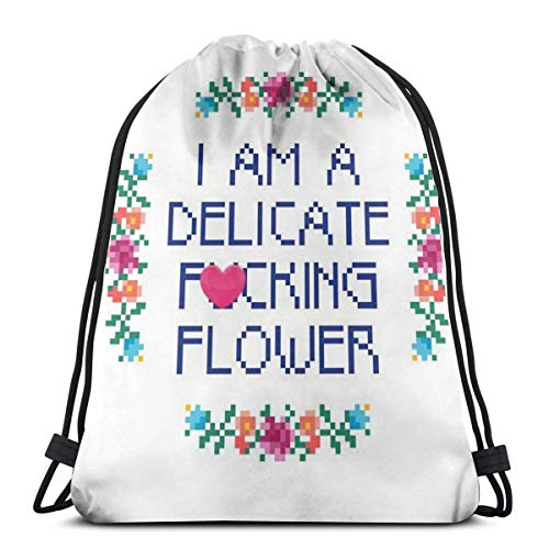 Bag hat I'm A Delicate Fucking Flower 3D Print Drawstring Backpack Rucksack Shoulder Gym for Adult 16.9