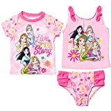 Disney Princesses Toddler Girls 3 Piece Rash Guard Tankini Swimsuit Set Pink 2T