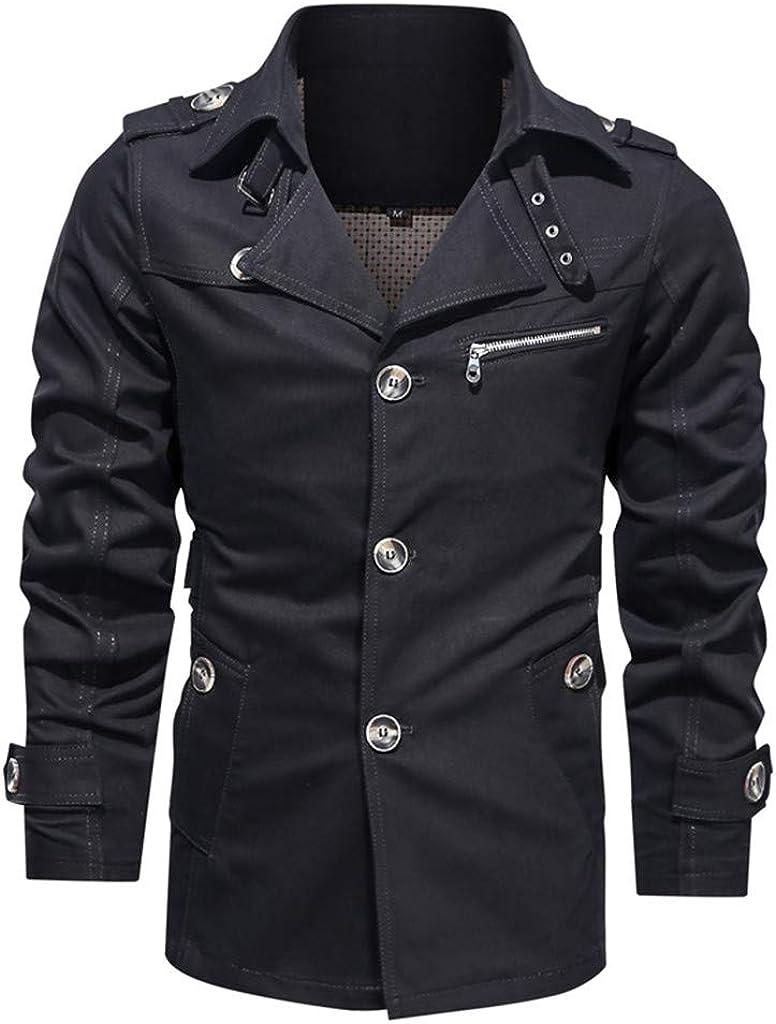 NREALY Men's Autumn Winter Pure Color Plus Size Washing Jacket Coat