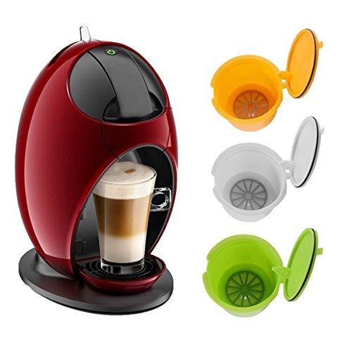 allomn BPA-frei nachfüllbar für Dolce Gusto wiederverwendbar Kaffee Kapseln für Nescafe Genio Piccolo ESPERTA Circolo 3Pack (gelb + grün + weiß)