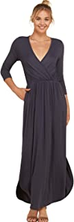 Annabelle Women's 3/4 Sleeve V Neck Wrap Waist Tie Long Maxi Dresses with Pockets