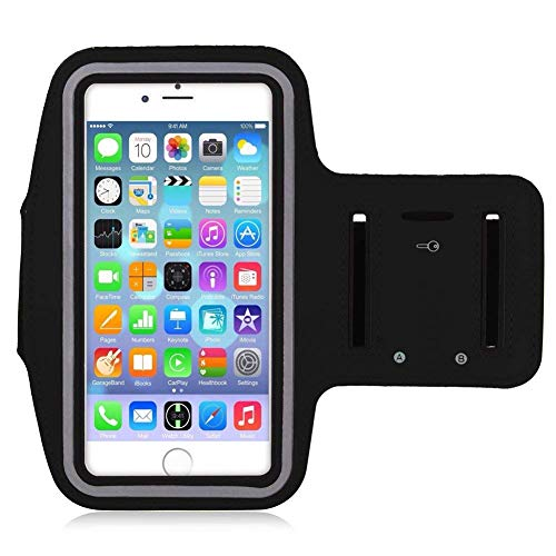 Clearvo Water Resistant Adjustable Sports Armband with Key Holder for iPhone 7, 6/6S (4.7-Inch), Galaxy S3/S4, iPhone SE, 5/5C/5S (Black)