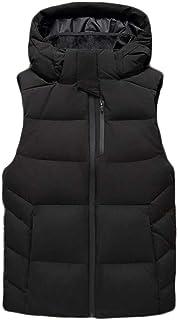秋と冬メンズベストダウンスリムスリムファッションカジュアルハンサムフード付きベスト (色 : 黒, サイズ さいず : S s)