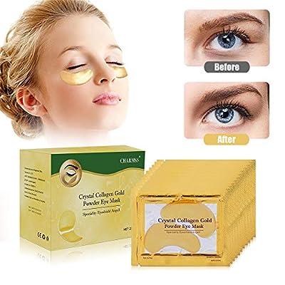 24K Gold Collagen Eye Mask, Charmss Premium Anti Aging Anti Wrinkle Collagen Eye Pads,Cooling Eye Patches for Dark Circles, Puffy Eyes, Dry Eyes, Remove Eye Bags, Lighten Eye Fine Wrinkles(25 Pairs).
