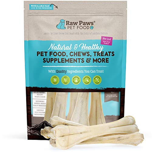 Raw Paws Pet Premium 10-inch Compressed Rawhide Bones for Dogs, 5-Count - Packed in USA - Long Lasting Dog Chews - Chews for Large Dogs - Natural Rawhide Dog Bones - Dog Chews for Aggressive Chewers