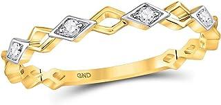 Diamond2Deal - Anello da donna in oro giallo 10 kt, con diamanti rotondi impilabili, 1/20 ct