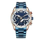 ETH Uhr Herrenmode Quarzuhrwerk Chronograph Leuchtkalender DREI-Augen-Sport Multifunktionsstahlband Herrenuhr Schwarz/Blau Zubehör (Farbe : Blue)