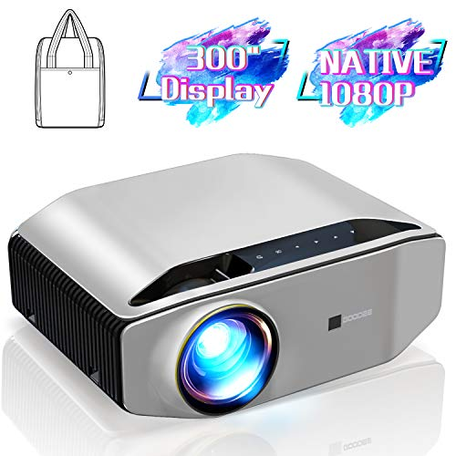 "Native 1080p Projector - GooDee YG620 Newest LED Video Projector/ 6000Lux/ 300"" Display/ Contrast 7000: 1/ Compatible with Firetv, HDMI, VGA, USB, Laptop and Smart Phone for Powerpoint Presentation"
